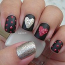 Sparkly Hearts/Black Matte