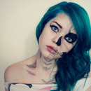 Blue hair and skeleton