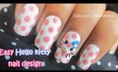 Easy Hello kitty and polka dots nail design tutorial