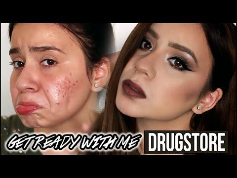 GET READY WITH ME   ACNE SCARS COVERAGE ON LIGHT SKIN   DRUGSTORE MAKEUP    FULL COVERAGE FOUNDATION