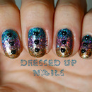 Triple glitter gradient with heart rhinestones