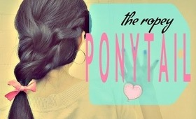 ★HOW TO: ROPEY PONYTAIL TUTORIAL| SIDE ROPE BRAID WITH A BOW FOR LONG HAIR |EASY HAIRSTYLES UPDOS