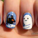 Adventure Time nails! Snow Golem and fire wolf pup