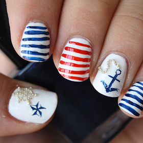 White base. Stripes done with acrylic paints.  http://iloveprettycolours.blogspot.com/2012/05/nautical-nails-getting-ready-for-summer.html