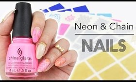 Neon and Chain Nail Art | Nail Vinyls from Whats Up Nails ♡