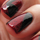 Black and red glitter tape manicure