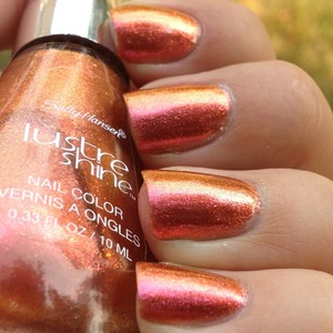 "Sally Hansen Lustre Shine in ""Lava"". See a full review and lots of pictures at http://polishmeplease.wordpress.com"