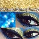 Blue and gold glitter