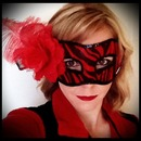 Masquerade mask with red lips