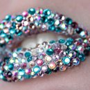 Blue, pink and silver rhinestoned lips
