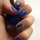 my Blue and fabric nails