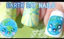 Water Marble Kawaii Earth Day Nail Art (Short Nails)