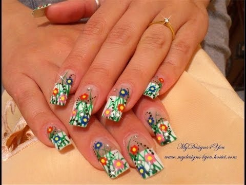 Easter Spring Flower Nail Art Design Tutorial Matching Pedicure