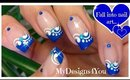 Blue French Tip Nail Art | Floral Nails ♥ Синий Френч Маникюр HD