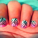 ombre stripped nails.