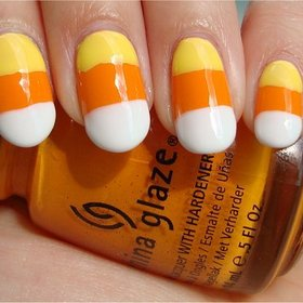 Candy Corn Nails Nail tutorial & more photos here: http://www.swatchandlearn.com/nail-art-tutorial-candy-corn-nails/