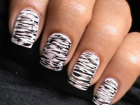 Black And White Nail Art Dresslink Review Nails Polish Cute