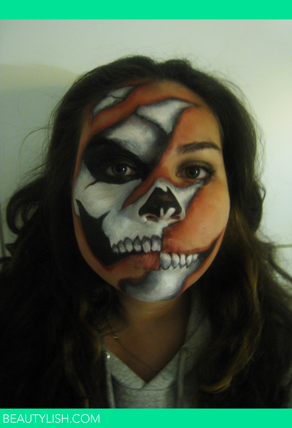 Added Sep 30  2012 Half Skeleton Face Painting