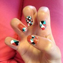Geometric Nails Inspired by Chelsea King/Queen