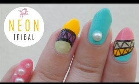 Japanese Tribal Neon Nail Art