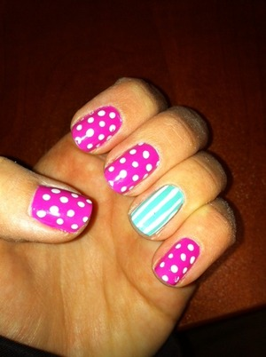 Pink and Mint, Polka dot and Stripes