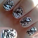 Leopard and Zebra Print Nail Art