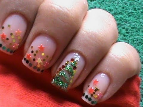 christmas nail art tutorial easy nail polish xmas tree