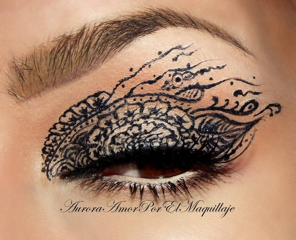Mehndi Eye Makeup : Henna lace auroramakeup a s photo