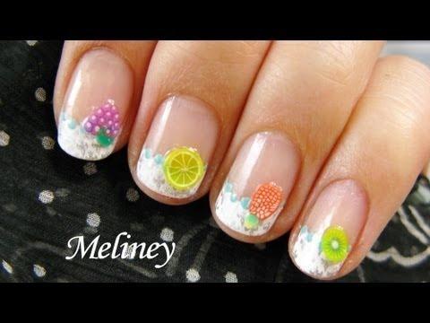summer fruit  flower fimo nail art design easy konad