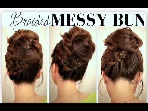 ☆CUTE, EVERYDAY SCHOOL HAIRSTYLES | BIG, MESSY BUN WITH BRAIDS UPDOS FOR  MEDIUM LONG HAIR TUTORIAL