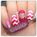Pink Heart Themed Nails