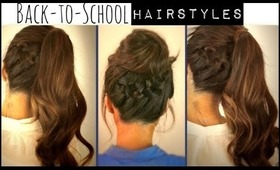 ★CUTE BACK-TO-SCHOOL HAIRSTYLES | BRAIDED PONYTAIL & MESSY BUN UPDOS  FOR MEDIUM LONG HAIR TUTORIAL