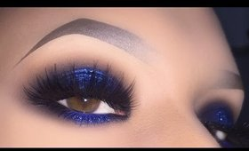 Sexy Blue Smokey for Brown Eyes - Glitter Halo Makeup Tutorial using PuroBIO
