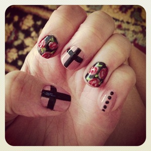 Vintage cross floral nails by me! Done with Essie NAILPOLISH, my favorite!