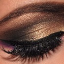 Gold smokey eyes and colorful lower lashline