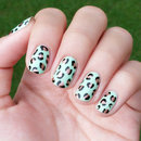 Mint Leopard Nails