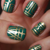 Emerald and gold art deco inspired nails