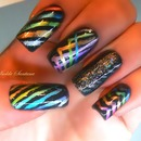 Metallic Stripes Nail Art