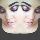 Cut crease (Black and Pink Glitter)