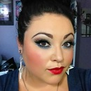 Glitter Smokey Eye with a pop of Red Lip