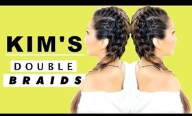 ★ Kim K's DOUBLE BRAIDS for Girls Who SUCK AT HAIR!  Beginner's Spring Hairstyles