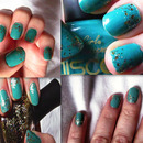 Teal Nails with Gold Glitter