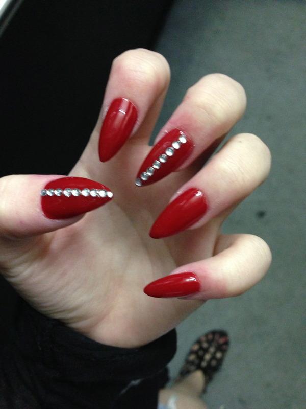 Stiletto Red Diamond Nails | Claire-Louise D.\'s (llouisek) Photo ...