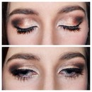 Brown and gold smokey eye makeup