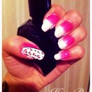 Pink and white ombré and leopard