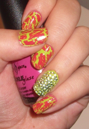 Bright green with pink crackle on top!  One of my favorite color combinations!
