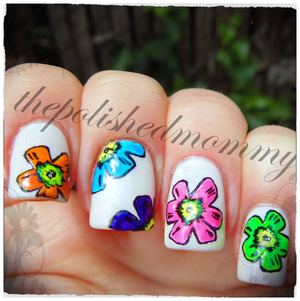 Nail Art Challenge: Neon. http://www.thepolishedmommy.com/2013/05/radioactive-flowers.html