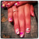 Confetti and Marble nail Design