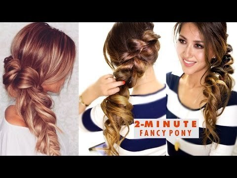 2 Minute Fancy Pony Braid Hairstyle Easy Summer Hairstyles Tina