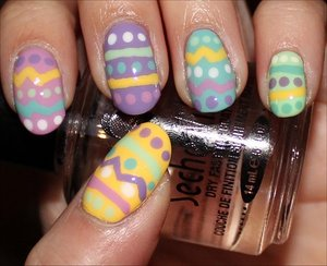 See tutorial & more swatches here: http://www.swatchandlearn.com/nail-art-tutorial-easter-egg-nails/